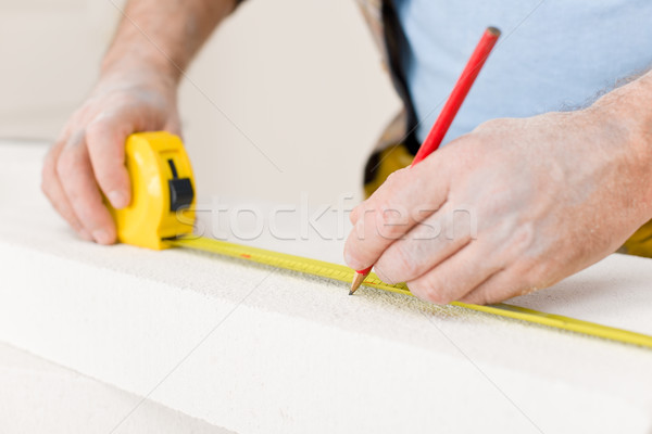 Amélioration de l'habitat bricoleur mesure brique atelier outil Photo stock © CandyboxPhoto
