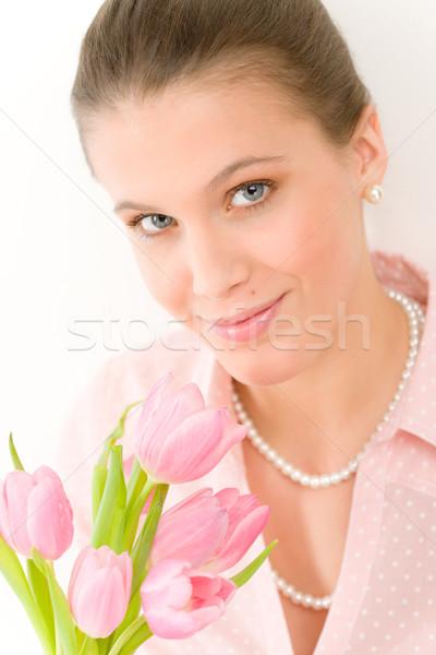Foto d'archivio: Moda · giovani · romantica · donna · primavera · tulipani