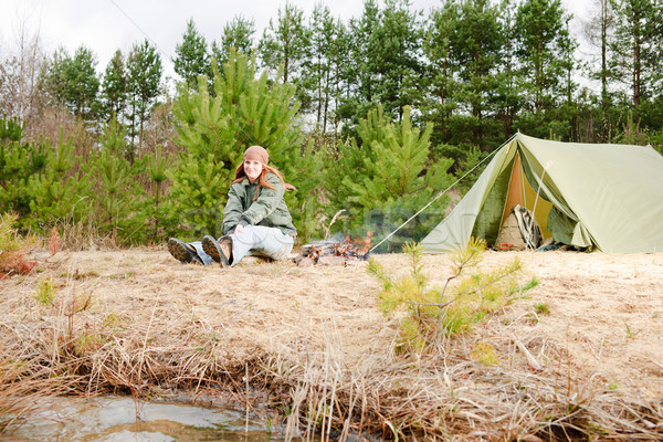 Camping woman tent sitting fire nature Stock photo © CandyboxPhoto