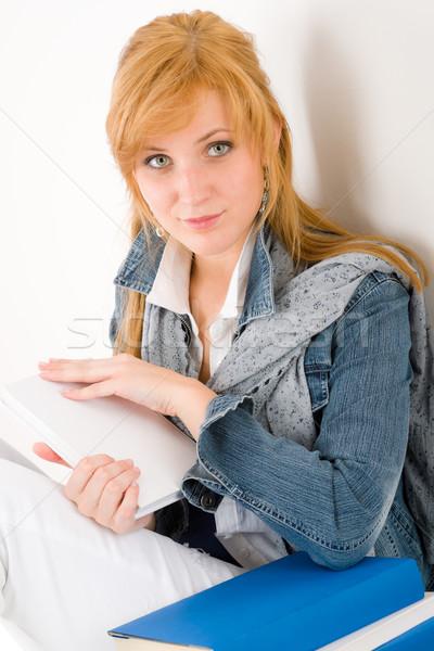 студент портрет книга посмотреть камеры Сток-фото © CandyboxPhoto