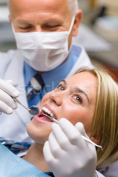 White teeth woman patient at the dentist Stock photo © CandyboxPhoto