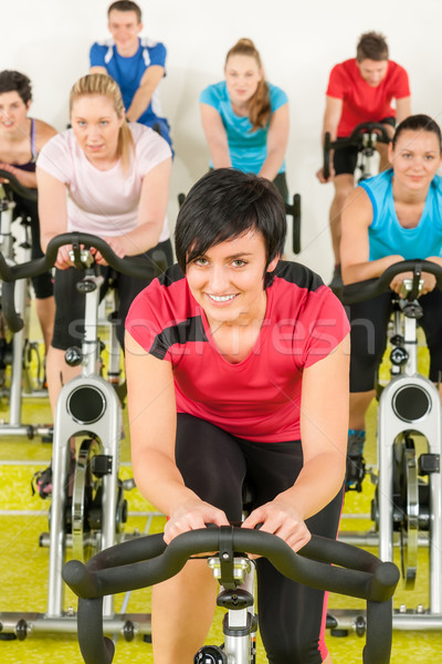 Spinning class sport people exercise at gym Stock photo © CandyboxPhoto