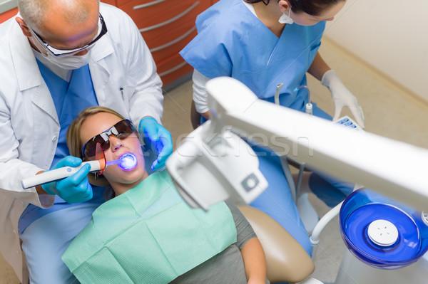 Dentista uv lâmpada feminino paciente mulher jovem Foto stock © CandyboxPhoto