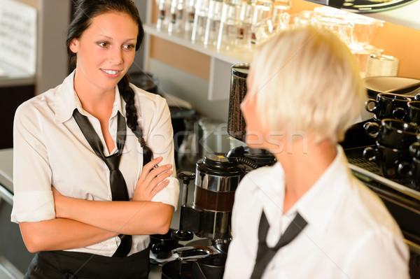 Waitresses talking gossiping in break cafe women Stock photo © CandyboxPhoto