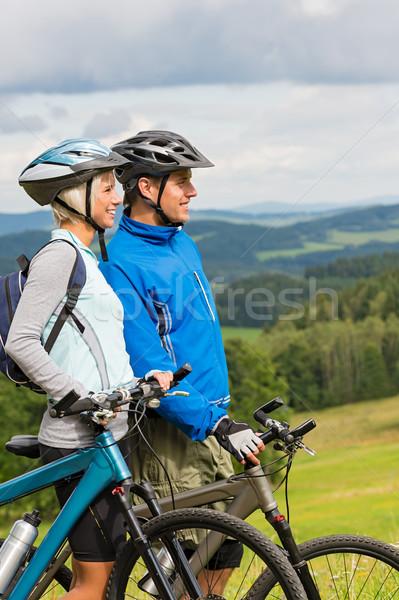 Sorridere ciclisti guardare scenico view bikes Foto d'archivio © CandyboxPhoto