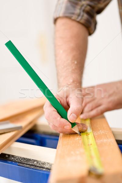 Lakásfelújítás közelkép ezermester méret fa fapadló Stock fotó © CandyboxPhoto