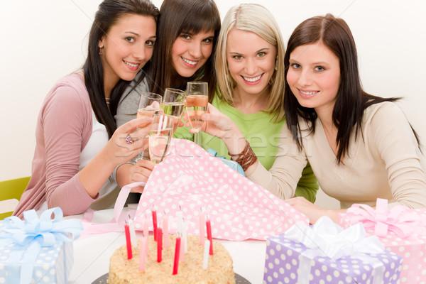 Сток-фото: празднование · дня · рождения · счастливым · женщину · тоста · шампанского · настоящее