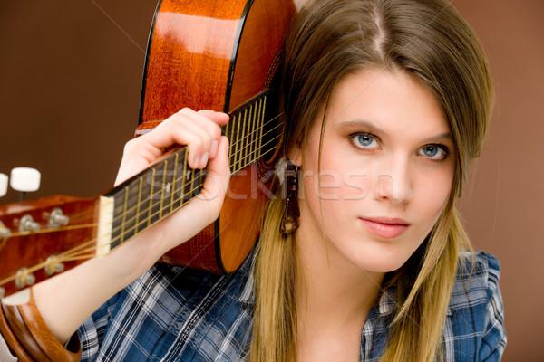 рок музыканта моде женщину гитаре Сток-фото © CandyboxPhoto