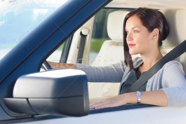 Stockfoto: Aantrekkelijk · zakenvrouw · drive · luxe · auto · elegante