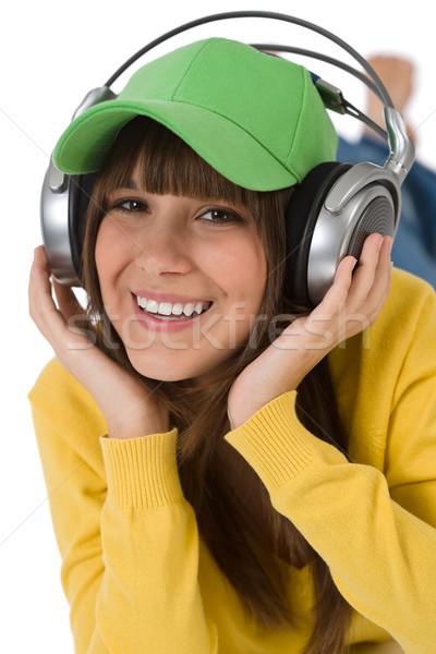счастливым женщины подростку наслаждаться музыку наушники Сток-фото © CandyboxPhoto