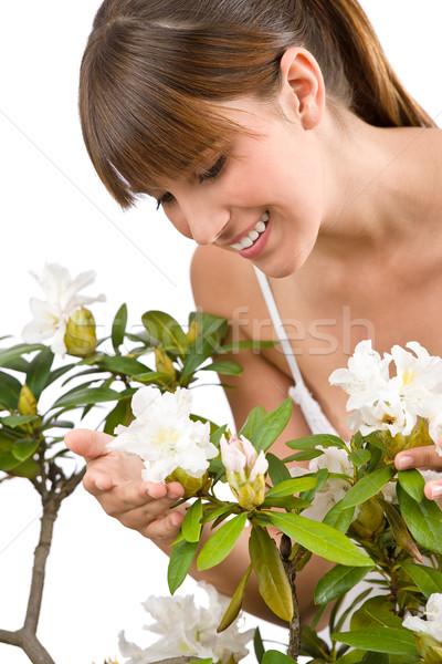 Stockfoto: Tuinieren · portret · vrouw · bloem · witte