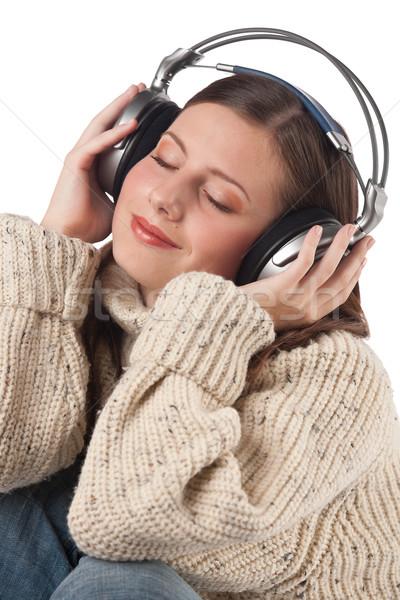 Portre mutlu kadın müzik kulaklık Stok fotoğraf © CandyboxPhoto