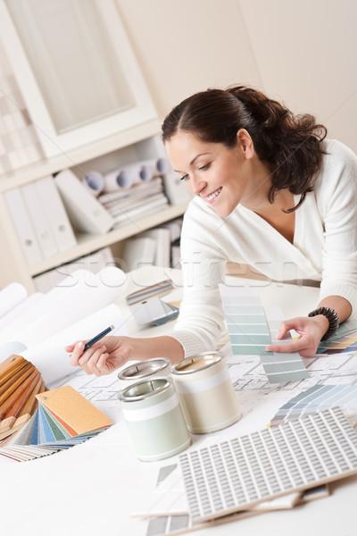 Kadın iç mimar çalışma ofis renk dizayn Stok fotoğraf © CandyboxPhoto