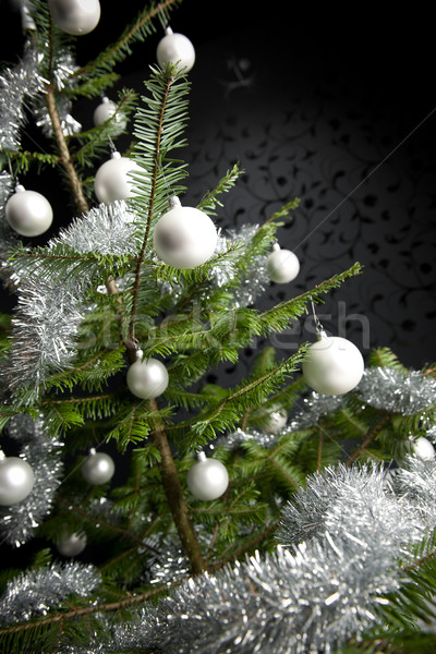 Silver decorated Christmas tree with balls and chains Stock photo © CandyboxPhoto