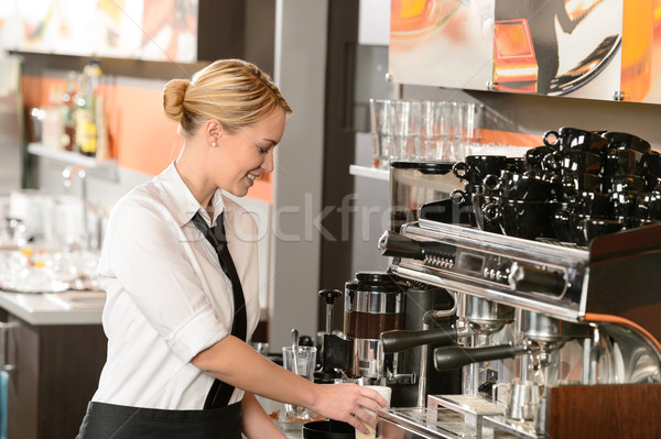 Waitress preparing hot beverage in coffee house Stock photo © CandyboxPhoto