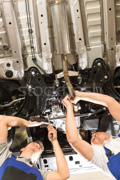 Caucasian repairmen working under automobile Stock photo © CandyboxPhoto