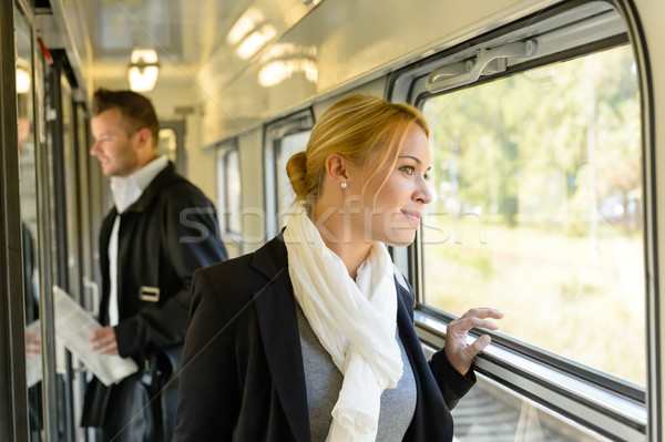 Woman looking out the train window traveling Stock photo © CandyboxPhoto