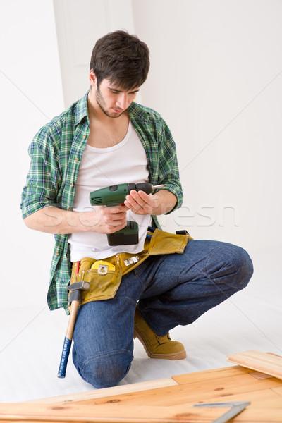 Lakásfelújítás ezermester installál fapadló belső padló Stock fotó © CandyboxPhoto