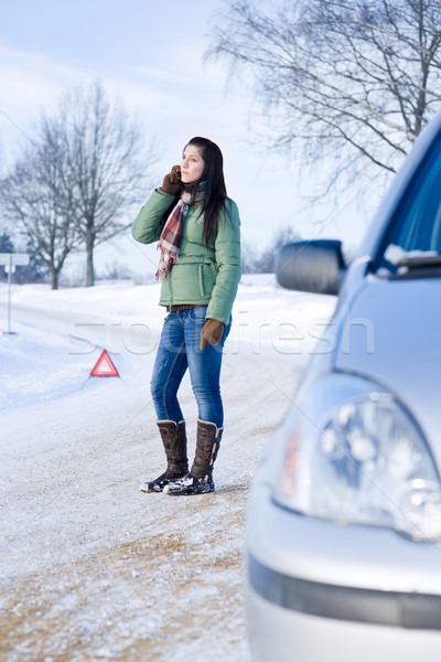 Winter car breakdown - woman call for help Stock photo © CandyboxPhoto
