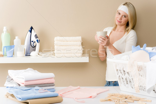Laundry ironing - woman coffee break  Stock photo © CandyboxPhoto