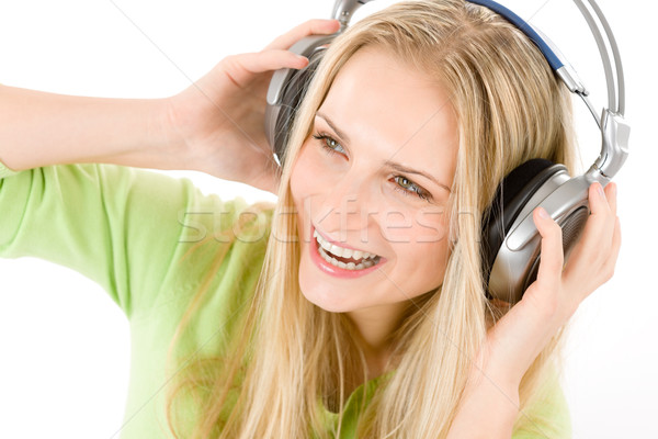 Cheerful young woman with headphones Stock photo © CandyboxPhoto
