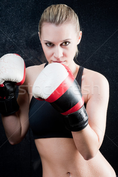 Boxe formation femme gants gymnase blond Photo stock © CandyboxPhoto