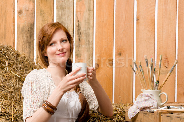 小さな ロマンチックな 女性 納屋 カップ ストックフォト © CandyboxPhoto