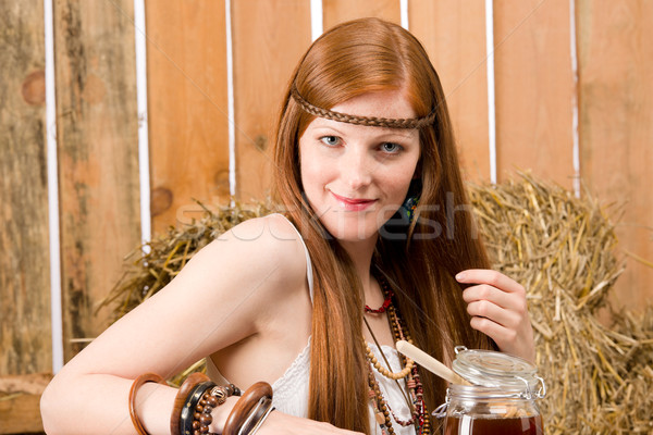Red-hair hippie woman have breakfast in barn Stock photo © CandyboxPhoto