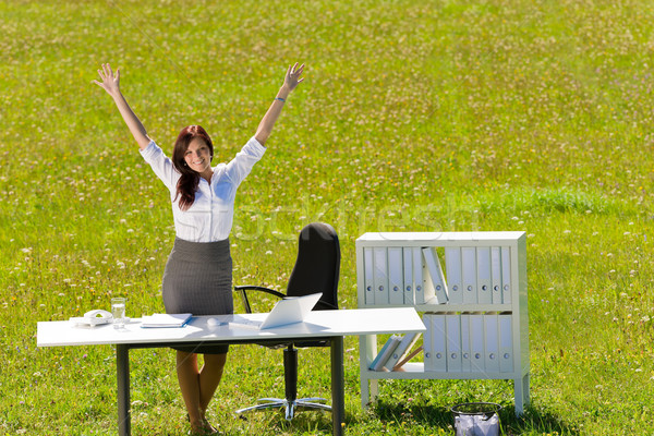 Stock photo: Businesswoman sunny meadow nature office hands-up
