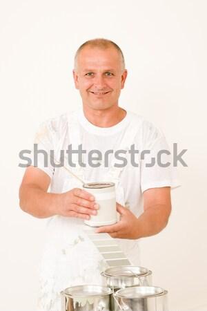 Home decorating mature male painter mix color Stock photo © CandyboxPhoto