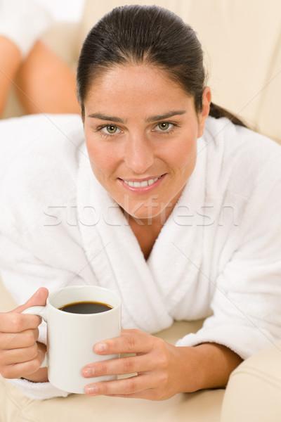 Stock fotó: Vonzó · nő · fehér · fürdőköpeny · tart · kávé · társalgó