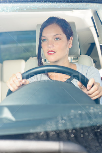 Attractive businesswoman drive luxury car smiling Stock photo © CandyboxPhoto