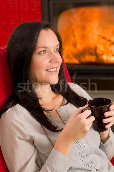 Foto stock: Invierno · casa · chimenea · mujer · beber · caliente