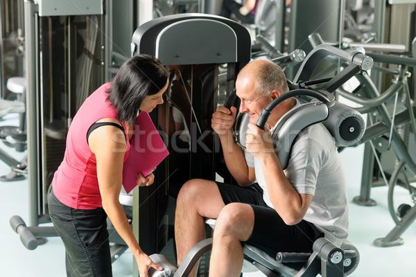 зрелый человек Личный тренер спортзал надзор фитнес Сток-фото © CandyboxPhoto
