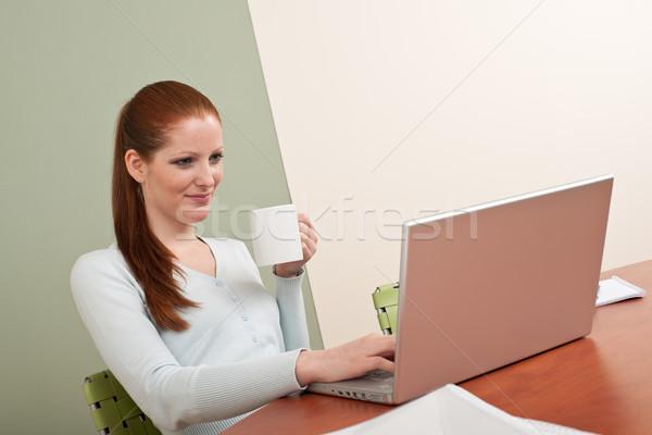 ストックフォト: 長い · 女性 · オフィス · コーヒー · コーヒーブレイク