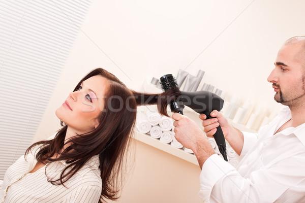 Profi fodrász hajszárító szalon vásárló férfi Stock fotó © CandyboxPhoto
