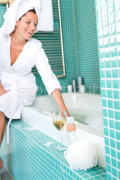 Smiling woman relaxing wrapped towel bathroom bathtub  Stock photo © CandyboxPhoto