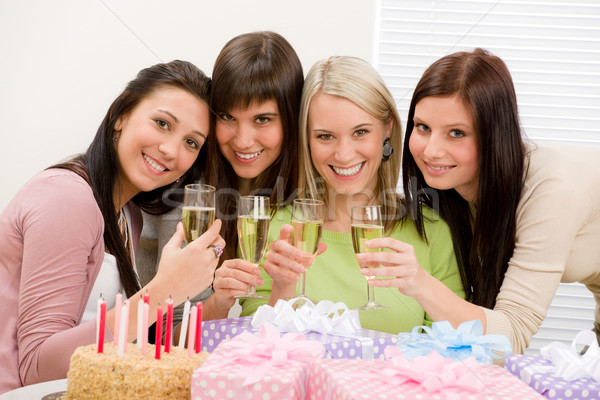 Birthday party - happy woman toast with champagne Stock photo © CandyboxPhoto