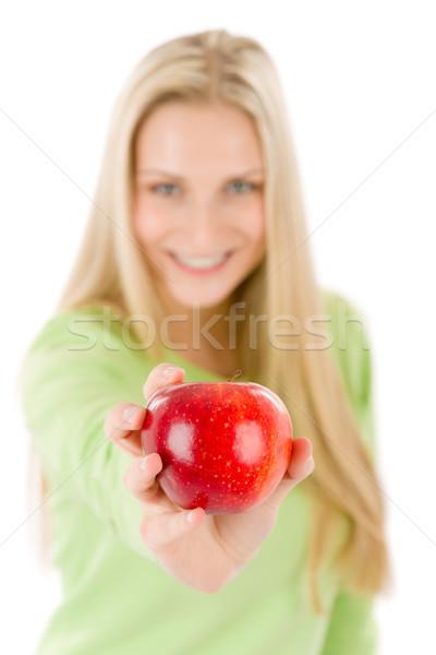 Egészséges életmód nő tart piros alma fehér étel Stock fotó © CandyboxPhoto