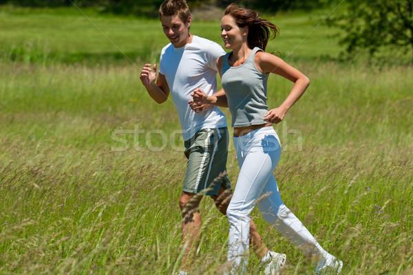 Fiatal pér jogging kint tavasz természet napos idő Stock fotó © CandyboxPhoto