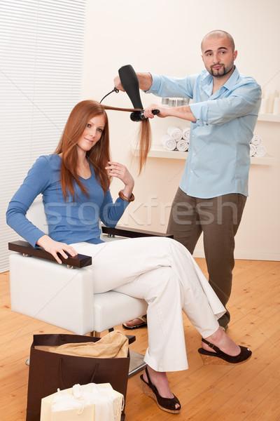 Profi fodrász hajszárító szalon férfi haj Stock fotó © CandyboxPhoto