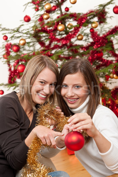 Two cheerful women with Christmas chains and balls  Stock photo © CandyboxPhoto