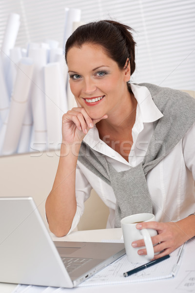 Female architect with laptop and coffee sitting  Stock photo © CandyboxPhoto