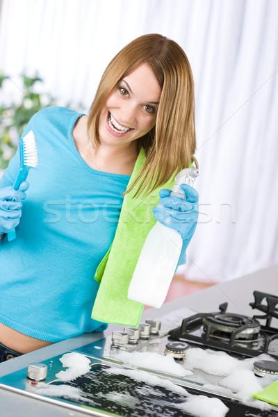 Limpieza estufa moderna cocina cepillo Foto stock © CandyboxPhoto