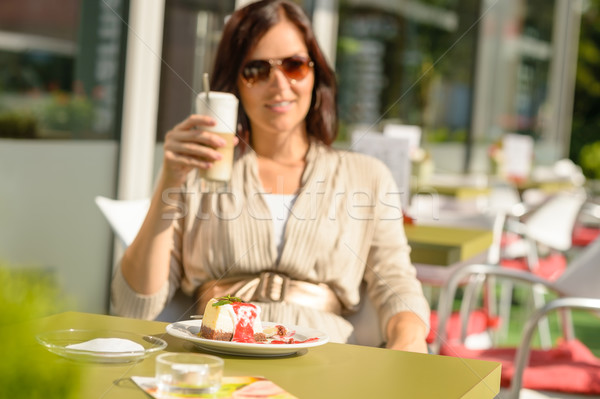Woman drinking latte at cafe bar dessert Stock photo © CandyboxPhoto