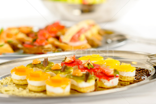 Appetizers mini desserts on catering buffet plate Stock photo © CandyboxPhoto