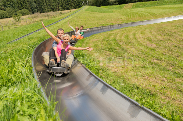 Stock photo: Couples Enjoying Alpine Coaster Luge