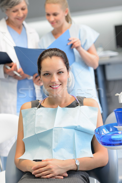 Empresária dentista enfermeira dental clínica sessão Foto stock © CandyboxPhoto