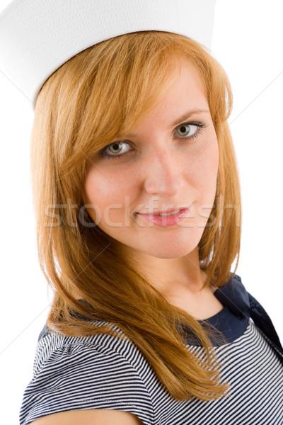 Młodych morskich kobieta moda portret marynarz Zdjęcia stock © CandyboxPhoto