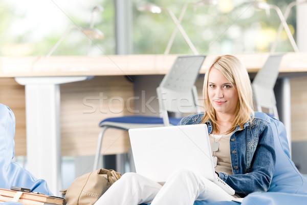 Stockfoto: Jonge · gelukkig · student · ontspannen · laptop